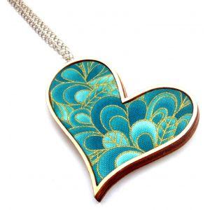 Türkiz és arany - design ferde szív nyaklánc