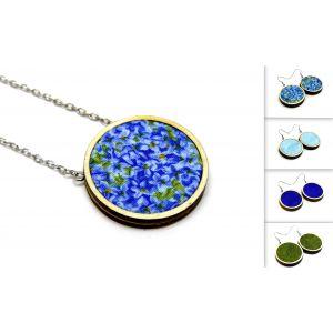 Kék virágos nyaklánc választható fülbevalóval - ékszerszett