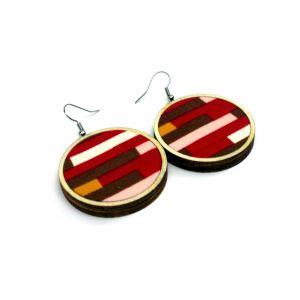 Őszi fülbevaló tégla mintával, az ősz színeivel : narancs, piros, barna, választható méretben!