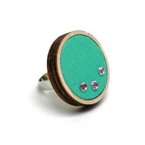 Türkiz gyűrű üveggyöngyökkel