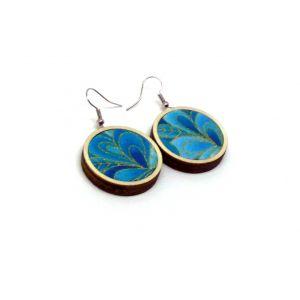 Kék levelek aranykontúrral -  fülbevaló