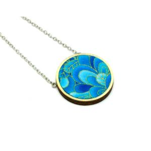 Kék levelek aranykontúrral - nyaklánc