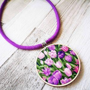 Tulipán classic nyaklánc lila