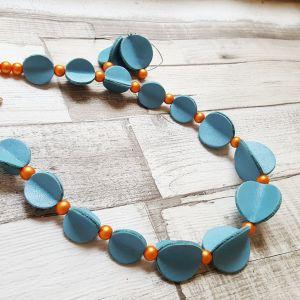 Türkiz bőrből készült pillangó ékszerszett - nyaklánc, fülbevaló
