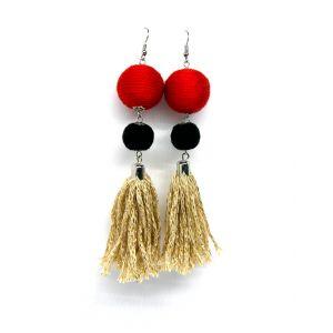 Bojtos fülbevaló - piros, fekete, arany