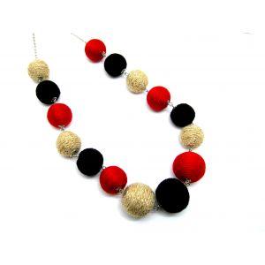 Golyós nyaklánc - piros, fekete, arany