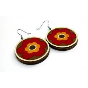 Őszi virágmintás fülbevaló - barna, piros, narancssárga - választható méretben!