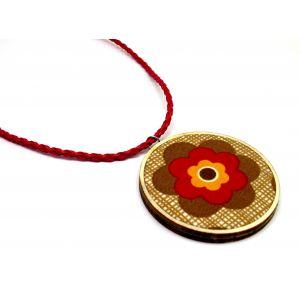 Őszi nyaklánc virág mintával, textilbőr nyaklánc résszel