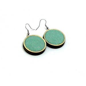 Zöld csíkos mini fülbevaló