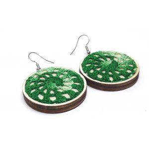 Zöld színátmenetes kézi horgolással díszített fülbevaló - Soul