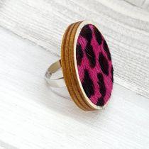 Pink - fekete leopárd mintás statement bőr gyűrű