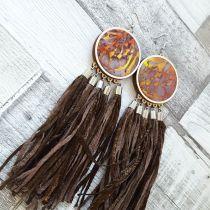 Barna/sárga foltos fülbevaló selyemrojtokkal